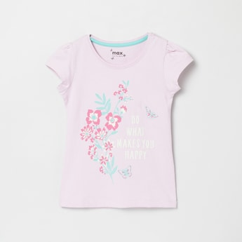 MAX Floral Print Round-Neck T-shirt