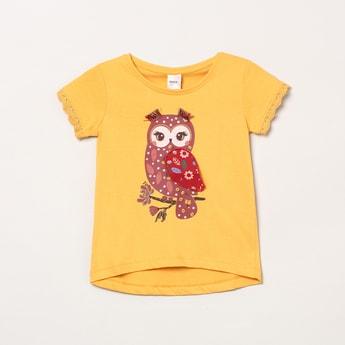 MAX Owl Print Round Neck Top