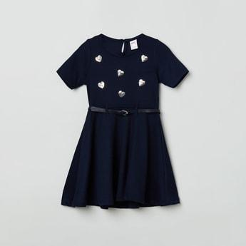 MAX Sequin Embellished A-Line Dress with Belt