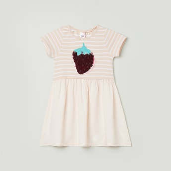 Max Striped Dress with Applique