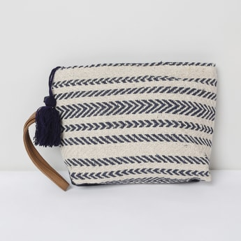 MAX Stripped Zip-Closure Cosmetic Pouch