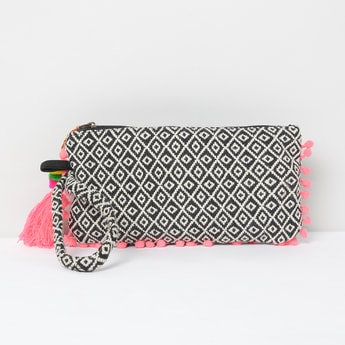 MAX Jacquard Patterned Zip-Closure Cosmetic Pouch with Tassel Trim