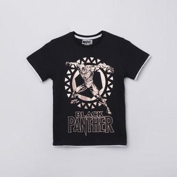 MAX Black Panther Print Crew Neck T-shirt