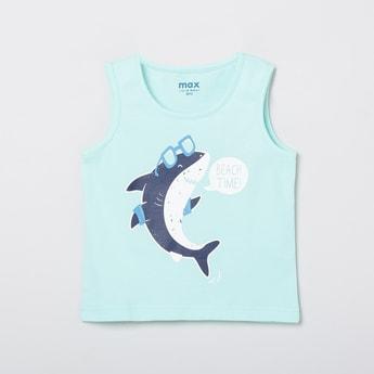 MAX Graphic Print Sleeveless Crew Neck T-shirt