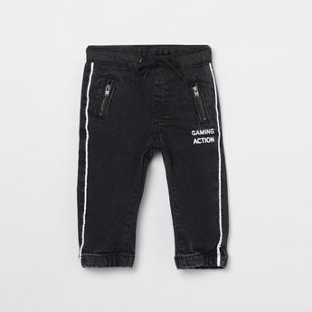 MAX Printed Drawstring Waist Slim Fit Jeans