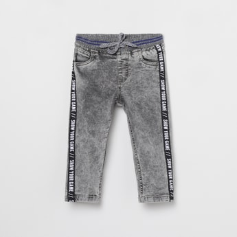 MAX Stonewashed Printed Slim Fit Jeans