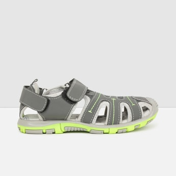 MAX Textured Sandals with Hook and Loop Closure
