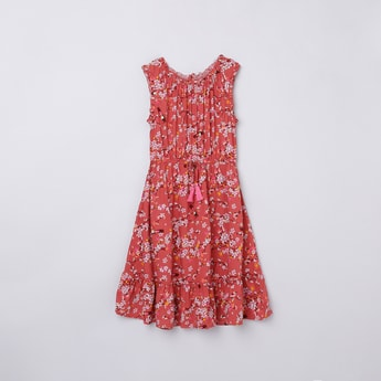 MAX Floral Printed Clinched Waist A-Line Dress