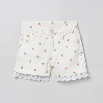 MAX Printed Woven Shorts with Lace Hem