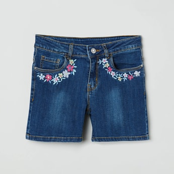 MAX Denim Embroidered Shorts