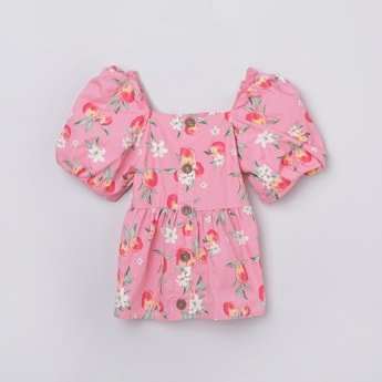 MAX Floral Printed Puffed Sleeves Top