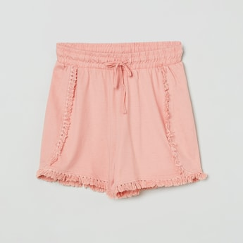 MAX Solid Shorts with Tassel Accent
