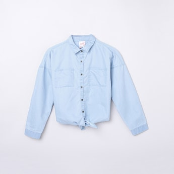 MAX Solid Full Sleeves Shirt with Tie-Up Hem