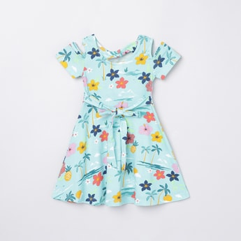 MAX Floral Print Cold-Shoulder A-line Dress
