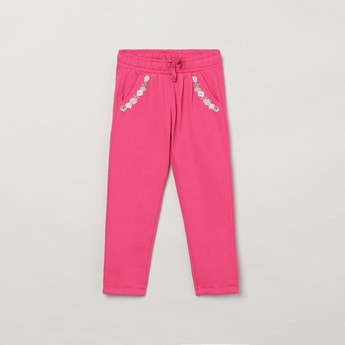 MAX Embroidered Drawstring Waist Knit Trousers