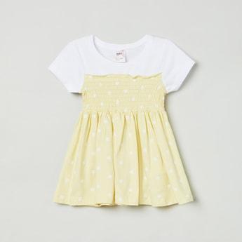 MAX Polka Dot Print Smocked A-Line Dress