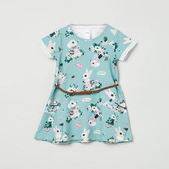 MAX Printed Round Neck T-shirt Dress