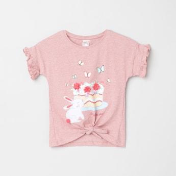 MAX Printed Round Neck T-shirt with Tie-Up Hem