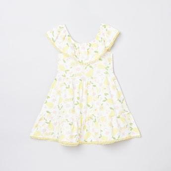 MAX Printed Dress with Pom-Pom Detail
