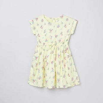 MAX Printed Cinched Waist A-Line Dress