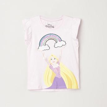 MAX Disney Print Sequinned Round Neck T-shirt