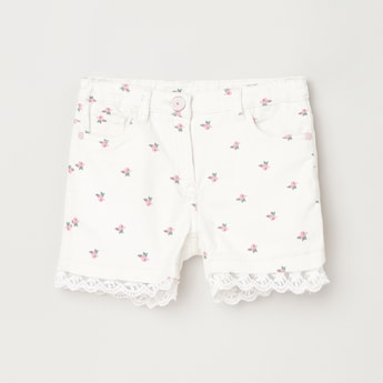 MAX Floral Printed Shorts with Lace Design
