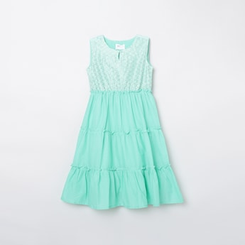 MAX Embroidered Tiered A-Line Ethnic Dress