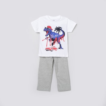 MAX Graphic Print T-shirt with Solid Elasticated Trousers