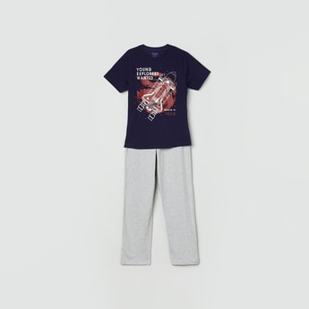MAX Printed Crew Neck T-shirt with Track Pants