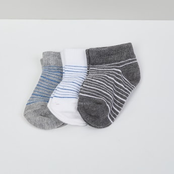 MAX Striped Ankle-Length Socks - Set of 3- 1-2 Y