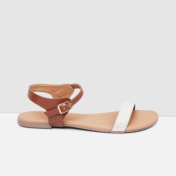 MAX Glitter Ankle-Strap Flats