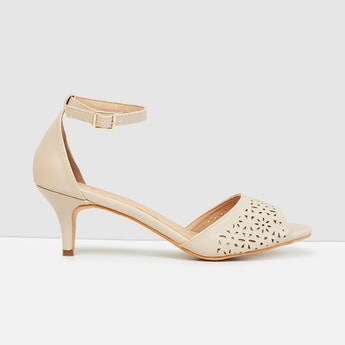 MAX Laser-Cut Ankle Strap Heeled Sandals