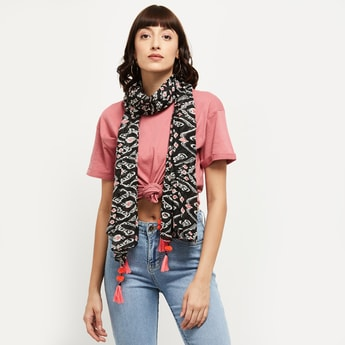 MAX Printed Tassel Detailed Stole