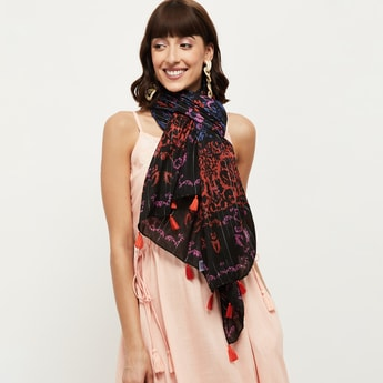 MAX Printed Tassel-Trimmed Stole