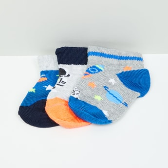 MAX Patterned Ankle-Length Socks - Set of 3- 0-6 M