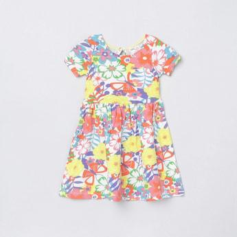 MAX Floral Print Knit Round Neck Dress