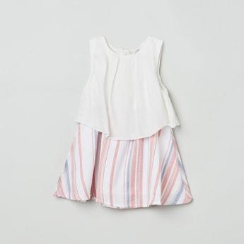 MAX Striped Sleeveless A-Line Dress