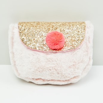 MAX Furry Sling Closure Sling Bag with Pom Pom Accent