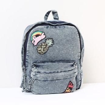 MAX Appliqued Zip-Closure Denim Backpack