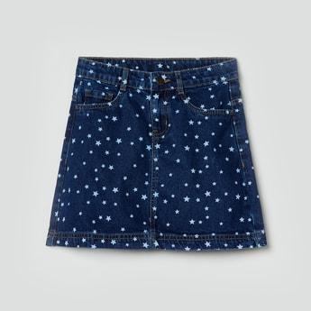 MAX Printed Denim Skirt