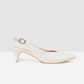 MAX Textured Sling-Back Cone Heels