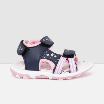 MAX Printed Velcro Strap Front Open Sandals