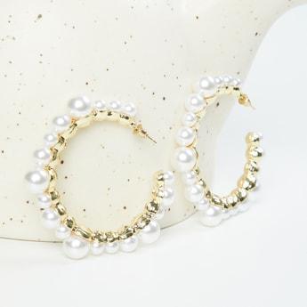MAX Pearl Embellished Semi-Hoop Earrings