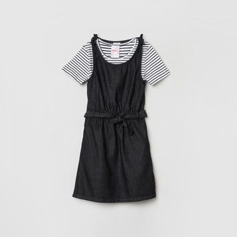 MAX Solid Dress with Striped T-shirt