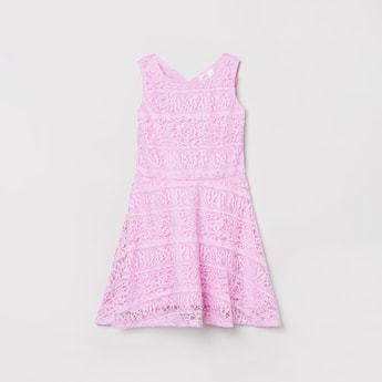 MAX Textured A-line Lace Dress