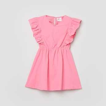 MAX Solid Woven Fit and Flare Dress
