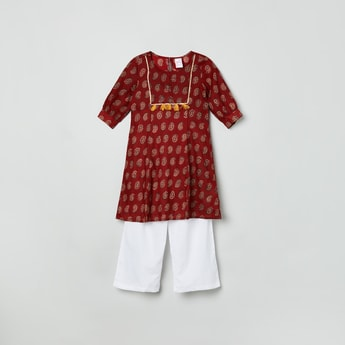 MAX Printed Round Neck Kurta with Elasticated Waist Pyjamas