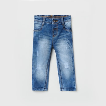 MAX Distressed Medium-Washed Slim Fit Jeans