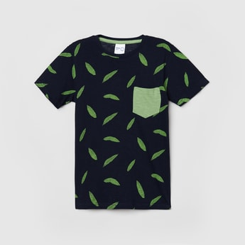 MAX Leaf Print Crew Neck T-shirt