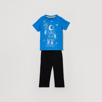 MAX Printed Crew Neck T-shirt with Pants